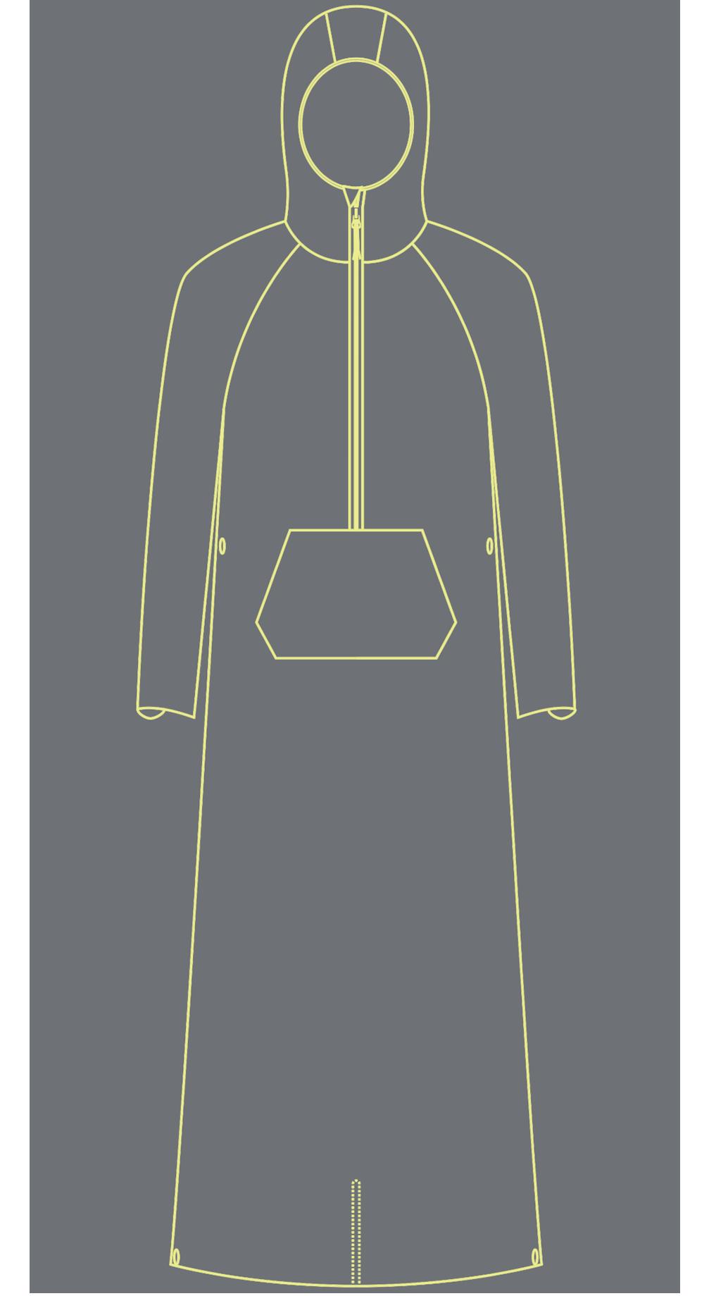 Unightie Schematic not a Sleeping bag liner