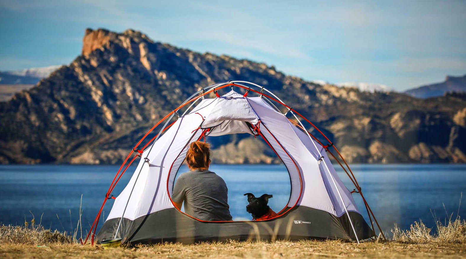 Woman and Dog without a Sleeping bag liner
