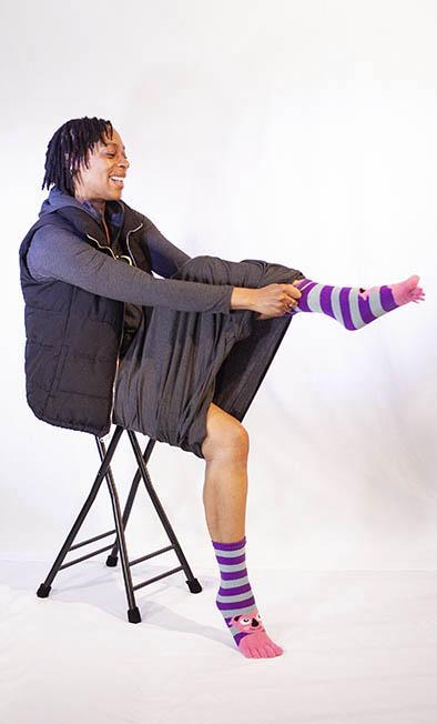 Janet wears favourite socks unlike a Sleeping bag liner
