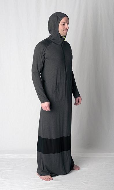 Paul wears hood on sleeping bag liner